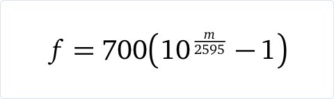Machine Learning | MFCCs: Engineering features from sound | Equation for calculating the frequency of mel bands
